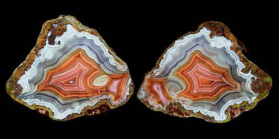 Agate Photograph - Pair Of Mexican Laguna Banded Agate by Darrell Gulin