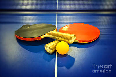 Pair Of Ping-pong Bats Table Tennis Paddles Rackets On Blue Print by Beverly Claire Kaiya