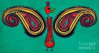 Traditional Folk Dance Digital Art - Paisley Peacock by Famenxt DB
