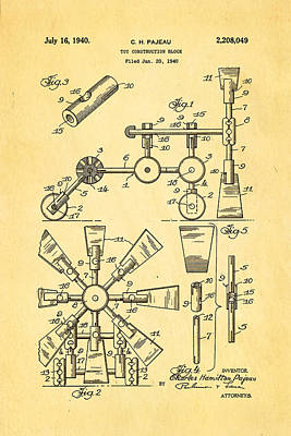 Brickie Photograph - Pajeau Tinker Toy Patent Art 1940 by Ian Monk