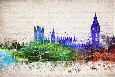 London Skyline Mixed Media - Palace Of Westminster by Aged Pixel