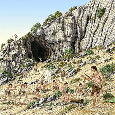Outlook Photograph - Palaeolithic Human Culture, Artwork by Luis Montanya/marta Montanya/sciencephotolibrary