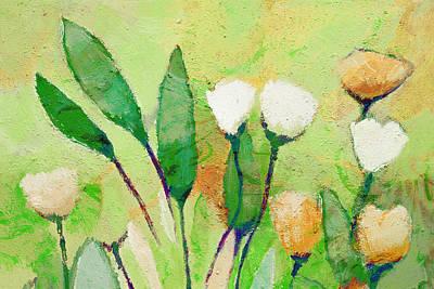 Serenade Painting - Pale Green Floral by Lutz Baar