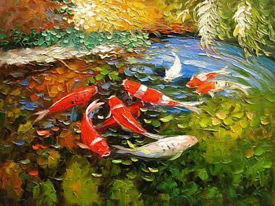 Palette Knife Oil Panting Koi Fish Original by Enxu Zhou