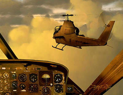 Helicopter Painting - Palette Of The Aviator by Dieter Carlton