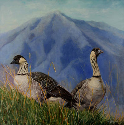 Heather Burton Painting - Paliku Nene - Haleakala National Park by Heather Burton