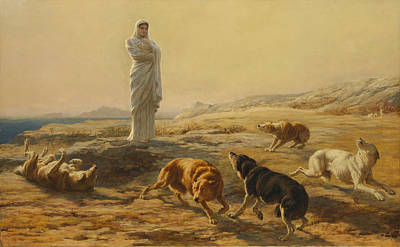 Pallas Athena And The Herdsmans Dogs Print by Briton Riviere