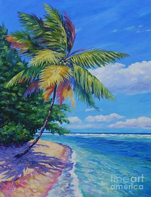 Trinidad Painting - Palm At The Water's Edge by John Clark