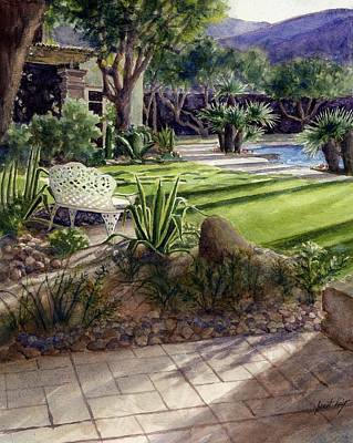 Painting - Palm Springs Backyard by Janet King