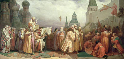 Palm Sunday Procession Under The Reign Of Tsar Alexis Romanov Print by Viatcheslav Grigorievitch Schwarz