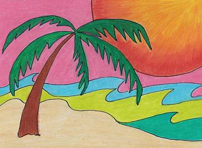 Palm Tree On A Beach Print by Geree McDermott