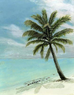 Turquoise Painting - Palm Tree Study by Cecilia Brendel