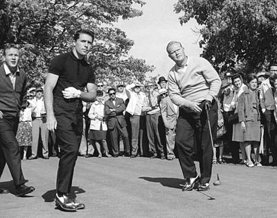 Black And White Photograph - Palmer, Player And Nicklaus by Underwood Archives