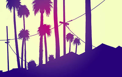 Los Angeles Drawing - Palms 2 by Giuseppe Cristiano