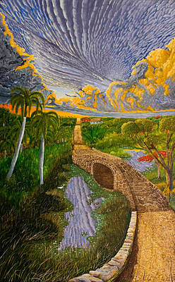Palms By The Lake Print by Manuel Lopez
