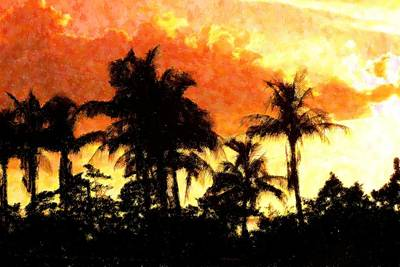 Palms See Red Print by Florene Welebny