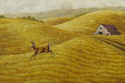 Old Barns Painting - Palouse Farm Whitetail Deer by Crista Forest