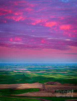 Rural Scenery Photograph - Palouse Fiery Dawn by Inge Johnsson