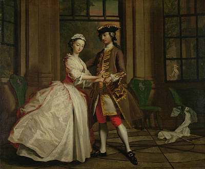 Pamela And Mr B. In The Summerhouse Print by Joseph Highmore