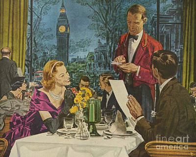 Nineteen-fifties Drawing - Pan Am, Pan American  1950s Usa London by The Advertising Archives