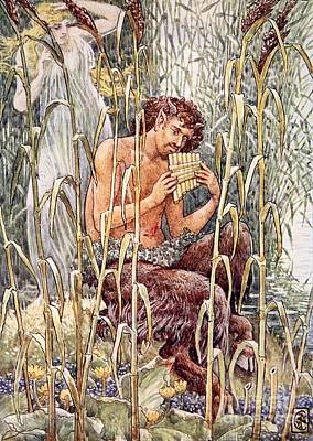 Half Man Painting - Pan Playing His Pipes by Walter Crane
