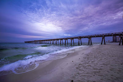 Panama City Beach Pier In The Morning Print by David Morefield