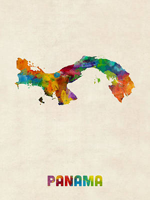 Latin America Digital Art - Panama Watercolor Map by Michael Tompsett