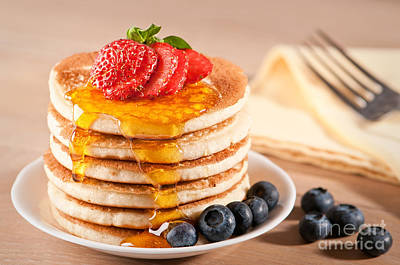 Maple Syrup Photograph - Pancakes With Maple Syrup by Amanda Elwell