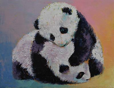 Baby Panda Rumble Print by Michael Creese
