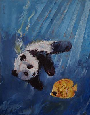 Angelfish Painting - Panda Diver by Michael Creese