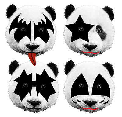 Panda Kiss  Print by Mark Ashkenazi