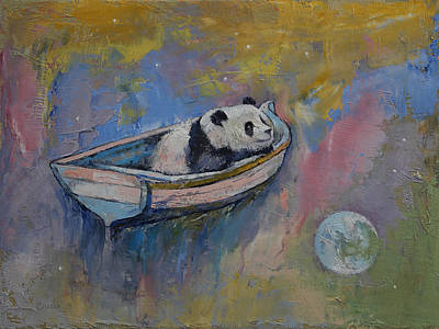 Panda Moon Print by Michael Creese