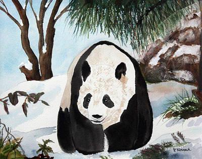Panda On Ice Print by Patricia Novack