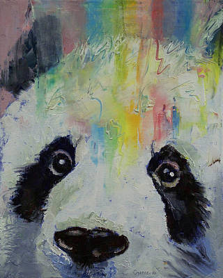 Humor. Painting - Panda Rainbow by Michael Creese