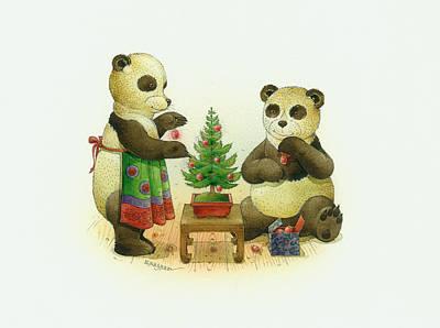 Pandabears Cristmas 02 Print by Kestutis Kasparavicius