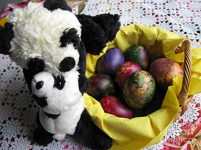 Pandas Celebrating Easter Print by Ausra Huntington nee Paulauskaite