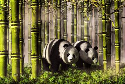 Tuan Digital Art - Pandas In A Bamboo Forest by Daniel Eskridge