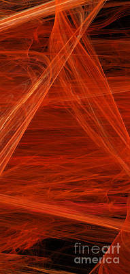 Pentaptych Digital Art - Panel 5 Of 5 Dancing Flames 2 H Pentaptych by Andee Design