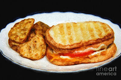Tomato Mixed Media - Panini Sandwich And Potato Wedges 1 by Andee Design