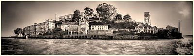 B Photograph - Panorama Alcatraz Shaky Sepia by Scott Campbell