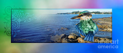 Kingfisher Mixed Media - Panorama Kingfisher by Tony Schaufelberger