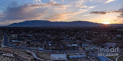 Panorama Of Albuquerque And Sandia Mountain At Sunrise From Pat Hurley Park - Albuquerque New Mexico Print by Silvio Ligutti