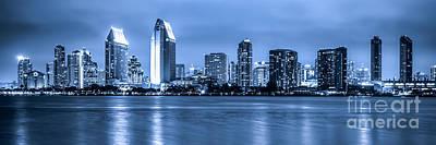 Panorama Of Blue San Diego Skyline At Night Print by Paul Velgos