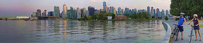 Panorama Of Coal Harbour And Vancouver Skyline At Dusk Print by David Smith