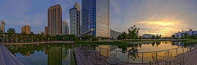Inauguration Photograph - Panorama Of Discovery Green - Downtown Houston Texas by Silvio Ligutti