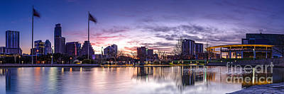 Panorama Of Downtown Austin At Dawn From The Long Center For Performing Arts - Texas Hill Country Print by Silvio Ligutti