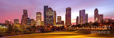 Panorama Of Downtown Houston At Dawn From Eleanor Tinsley Park - Houston Texas Harris County Print by Silvio Ligutti