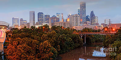 Panorama Of Downtown Houston At Dawn - Texas Print by Silvio Ligutti