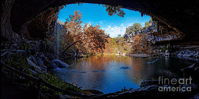Panorama Of Hamilton Pool In The Fall - Austin Texas Hill Country Print by Silvio Ligutti
