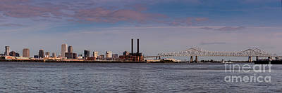 Panorama Of New Orleans And Crescent City Connection From Gretna - Louisiana Print by Silvio Ligutti